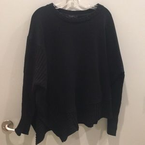 Black asymmetrical sweater shirt